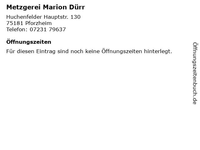 Metzgerei Marion Dürr in Pforzheim: Adresse und Öffnungszeiten