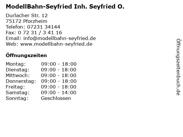 ModellBahn-Seyfried Inh. Seyfried O. in Pforzheim: Adresse und Öffnungszeiten