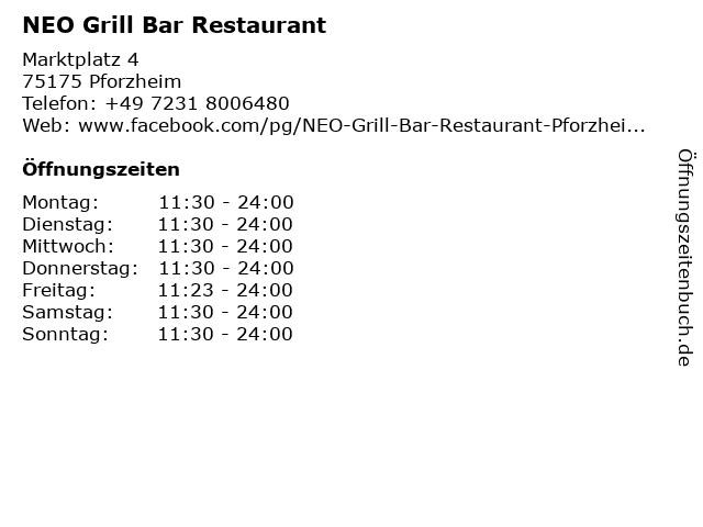 NEO Grill Bar Restaurant in Pforzheim: Adresse und Öffnungszeiten