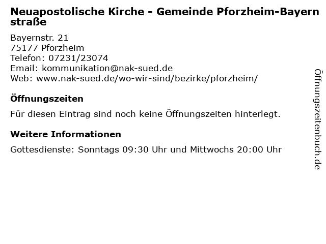 Neuapostolische Kirche - Gemeinde Pforzheim-Bayernstraße in Pforzheim: Adresse und Öffnungszeiten