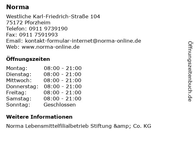 Norma in Pforzheim: Adresse und Öffnungszeiten