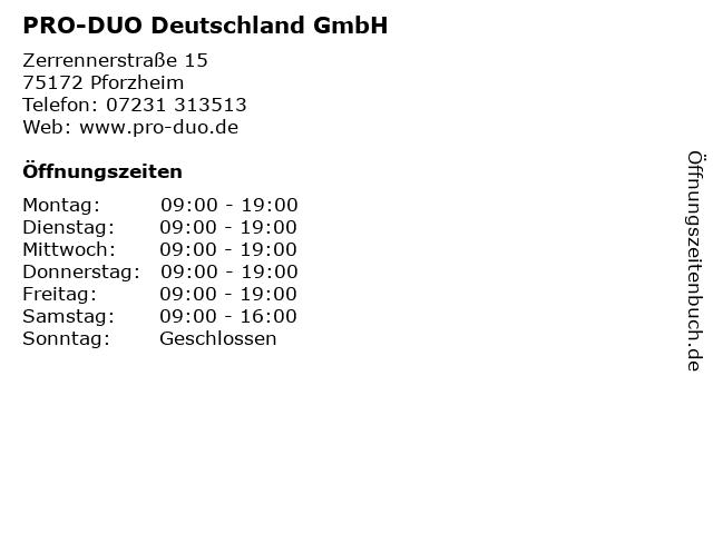 PRO-DUO Deutschland GmbH in Pforzheim: Adresse und Öffnungszeiten