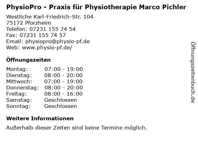 PhysioPro - Praxis für Physiotherapie Marco Pichler in Pforzheim: Adresse und Öffnungszeiten