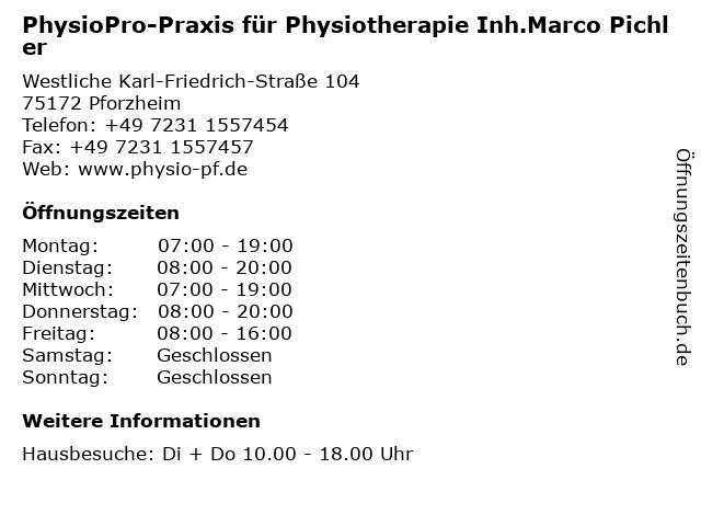 PhysioPro-Praxis für Physiotherapie Inh.Marco Pichler in Pforzheim: Adresse und Öffnungszeiten