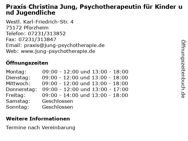 Praxis Christina Jung, Psychotherapeutin für Kinder und Jugendliche in Pforzheim: Adresse und Öffnungszeiten