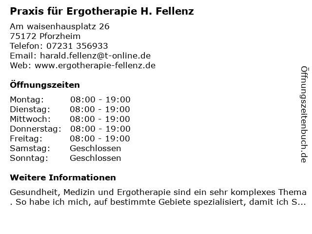 Praxis für Ergotherapie H. Fellenz in Pforzheim: Adresse und Öffnungszeiten