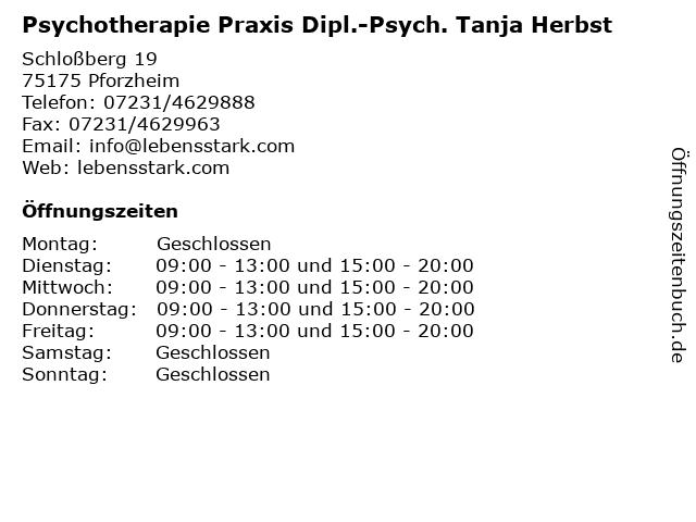 Psychotherapie Praxis Dipl.-Psych. Tanja Herbst in Pforzheim: Adresse und Öffnungszeiten