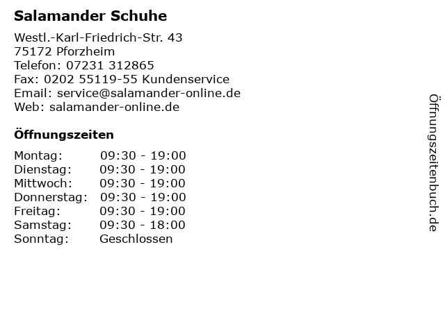 Salamander Schuhe in Pforzheim: Adresse und Öffnungszeiten