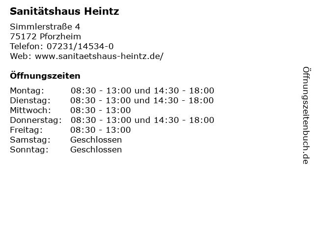 Sanitätshaus Heintz in Pforzheim: Adresse und Öffnungszeiten