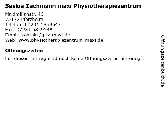 Saskia Zachmann maxi Physiotherapiezentrum in Pforzheim: Adresse und Öffnungszeiten