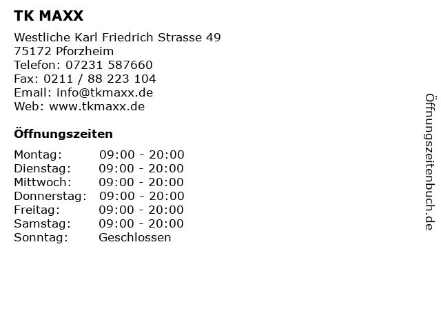 TK MAXX in Pforzheim: Adresse und Öffnungszeiten