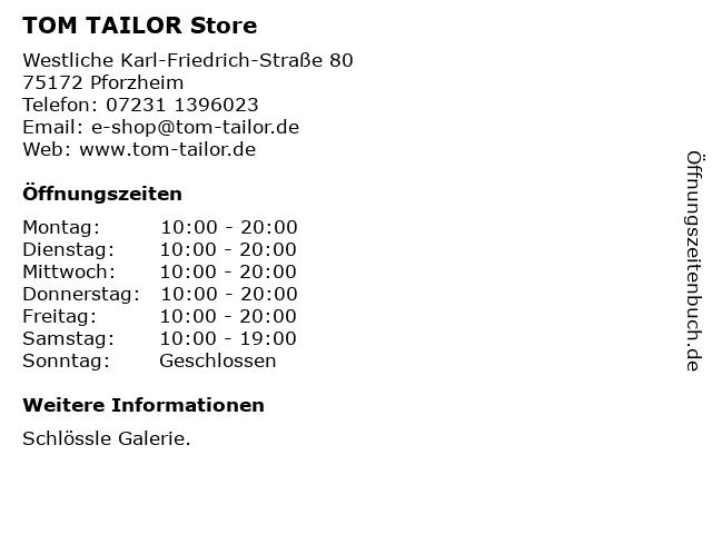 TOM TAILOR Store in Pforzheim: Adresse und Öffnungszeiten