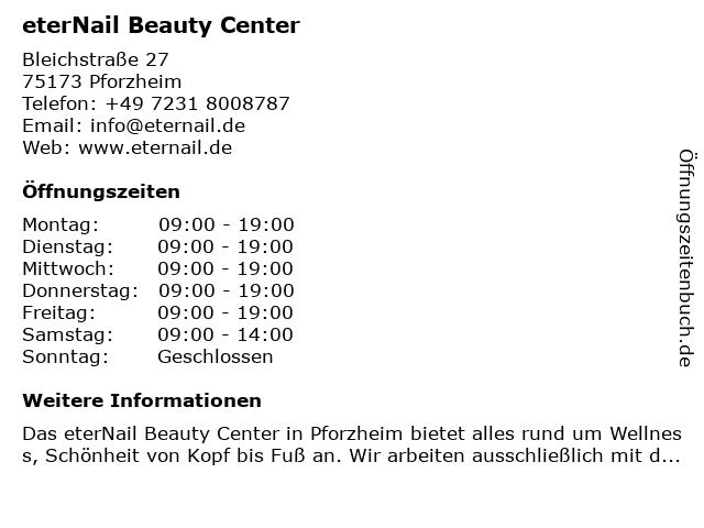 eterNail Beauty Center in Pforzheim: Adresse und Öffnungszeiten