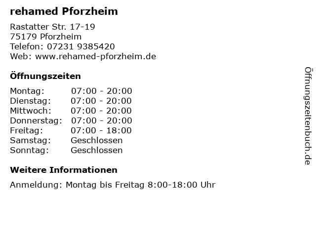 rehamed Pforzheim in Pforzheim: Adresse und Öffnungszeiten