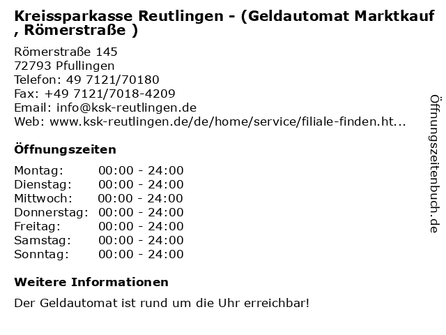 Kreissparkasse Reutlingen - (Geldautomat Marktkauf, Römerstraße ) in Pfullingen: Adresse und Öffnungszeiten