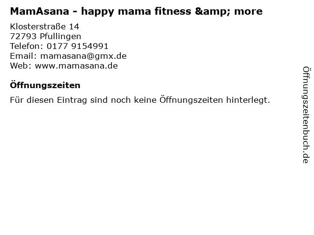 MamAsana - happy mama fitness & more in Pfullingen: Adresse und Öffnungszeiten