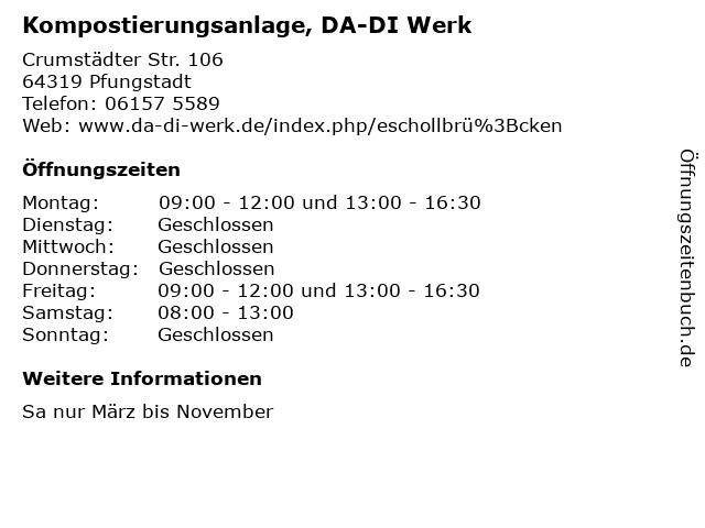 Kompostierungsanlage, DA-DI Werk in Pfungstadt: Adresse und Öffnungszeiten