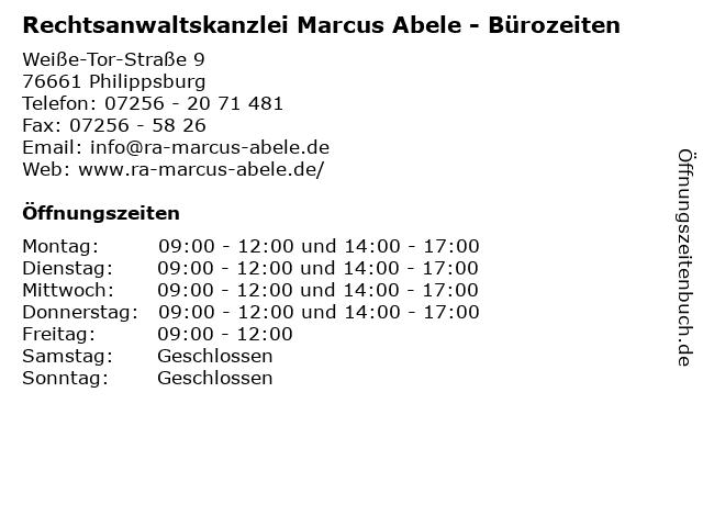 Rechtsanwaltskanzlei Marcus Abele - Bürozeiten in Philippsburg: Adresse und Öffnungszeiten
