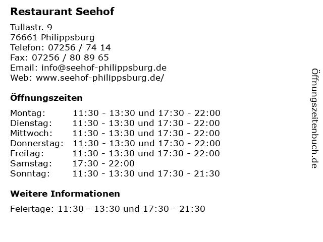 Restaurant Seehof in Philippsburg: Adresse und Öffnungszeiten
