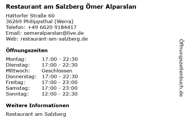 Restaurant am Salzberg Ömer Alparslan in Philippsthal (Werra): Adresse und Öffnungszeiten