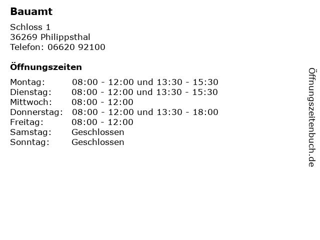 Bauamt in Philippsthal: Adresse und Öffnungszeiten