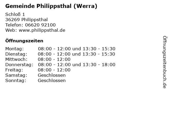 Gemeinde Philippsthal (Werra) in Philippsthal: Adresse und Öffnungszeiten