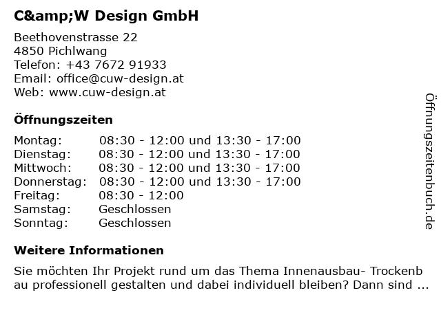 C&W Design GmbH in Pichlwang: Adresse und Öffnungszeiten
