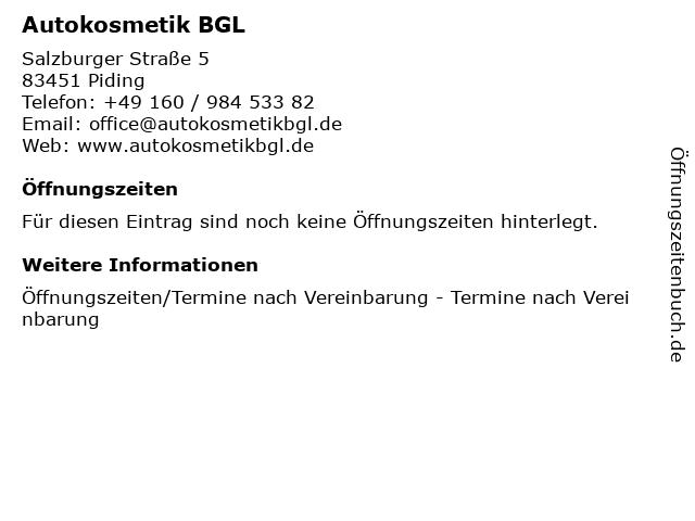 Autokosmetik BGL in Piding: Adresse und Öffnungszeiten