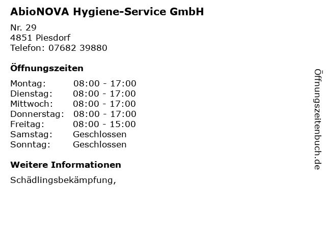 AbioNOVA Hygiene-Service GmbH in Piesdorf: Adresse und Öffnungszeiten