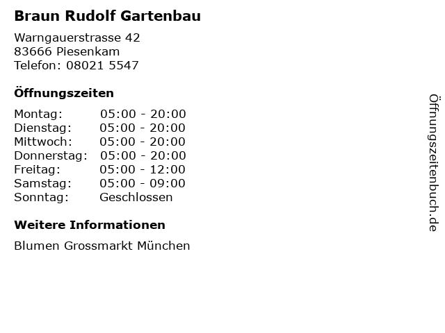 ᐅ öffnungszeiten Braun Rudolf Gartenbau Warngauerstrasse 42 In