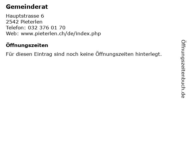 Gemeinderat in Pieterlen: Adresse und Öffnungszeiten