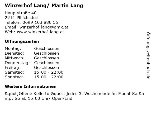 Winzerhof Lang/ Martin Lang in Pillichsdorf: Adresse und Öffnungszeiten