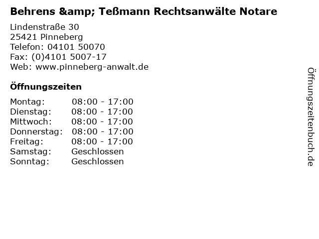 Behrens & Teßmann Rechtsanwälte Notare in Pinneberg: Adresse und Öffnungszeiten