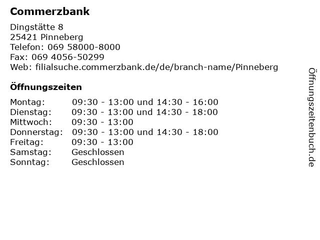 Commerzbank Pinneberg in Pinneberg: Adresse und Öffnungszeiten