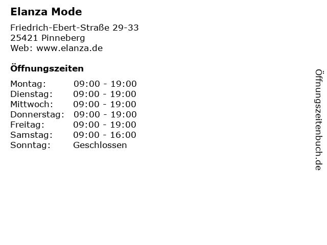 Elanza Mode in Pinneberg: Adresse und Öffnungszeiten