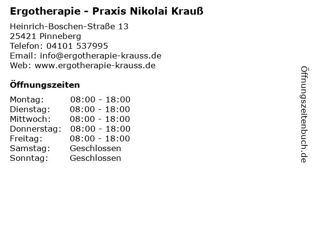 Ergotherapie - Praxis Nikolai Krauß in Pinneberg: Adresse und Öffnungszeiten