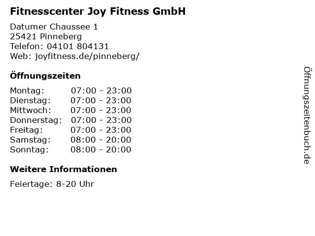 Fitnesscenter Joy Fitness GmbH in Pinneberg: Adresse und Öffnungszeiten