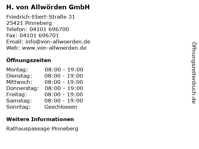 H. von Allwörden GmbH in Pinneberg: Adresse und Öffnungszeiten