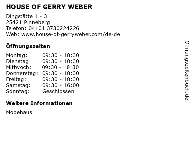 HOUSE OF GERRY WEBER in Pinneberg: Adresse und Öffnungszeiten