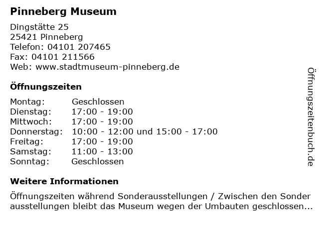 Pinneberg Museum in Pinneberg: Adresse und Öffnungszeiten