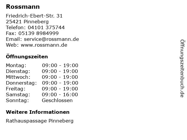 Dirk Rossmann GmbH in Pinneberg: Adresse und Öffnungszeiten
