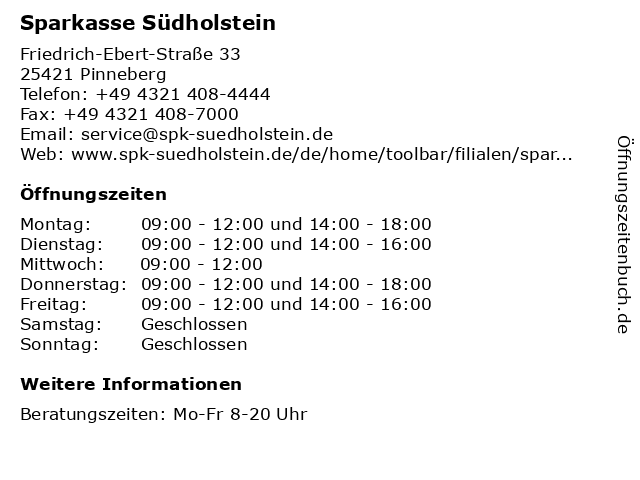 Sparkasse Südholstein in Pinneberg: Adresse und Öffnungszeiten