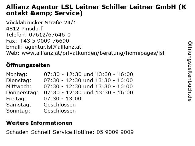 Allianz Agentur LSL Leitner Schiller Leitner GmbH (Kontakt & Service) in Pinsdorf: Adresse und Öffnungszeiten