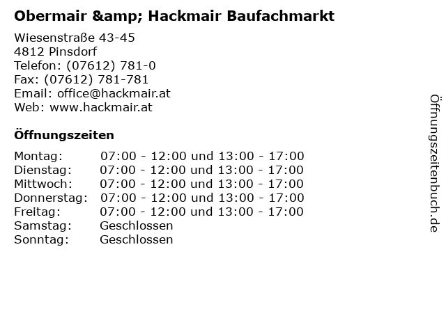 Obermair & Hackmair Baufachmarkt in Pinsdorf: Adresse und Öffnungszeiten