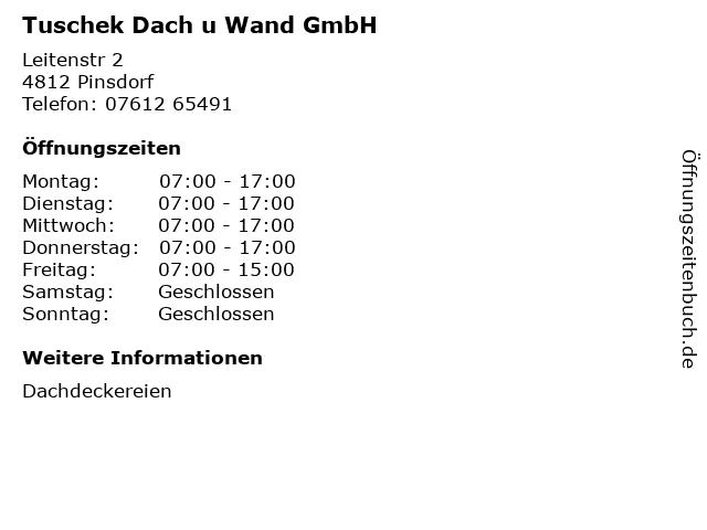 Tuschek Dach u Wand GmbH in Pinsdorf: Adresse und Öffnungszeiten