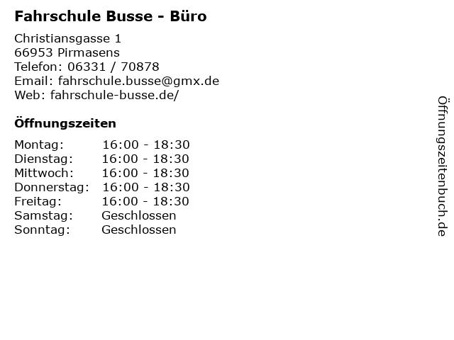 Fahrschule Busse - Büro in Pirmasens: Adresse und Öffnungszeiten