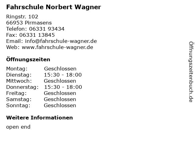 Fahrschule Norbert Wagner in Pirmasens: Adresse und Öffnungszeiten