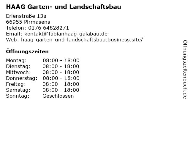 HAAG Garten- und Landschaftsbau in Pirmasens: Adresse und Öffnungszeiten