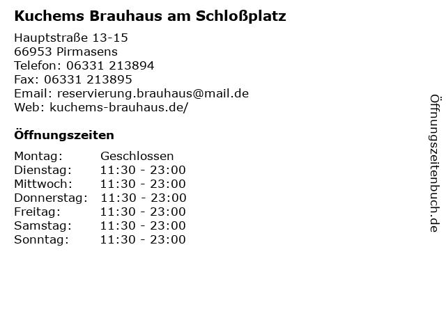 ᐅ Offnungszeiten Kuchems Brauhaus Am Schlossplatz Hauptstrasse 13