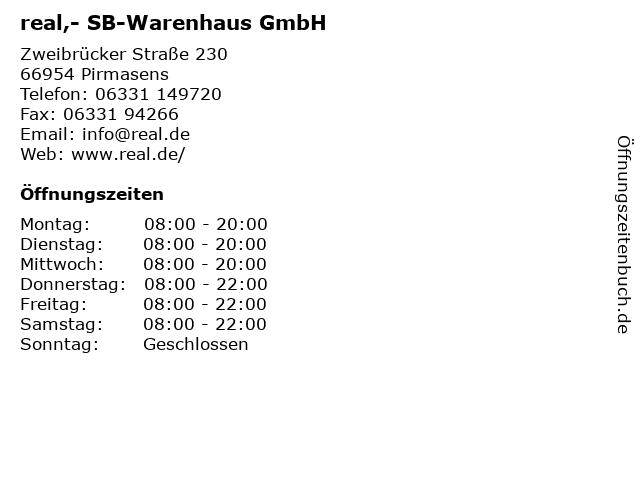 real,- SB-Warenhaus GmbH in Pirmasens: Adresse und Öffnungszeiten